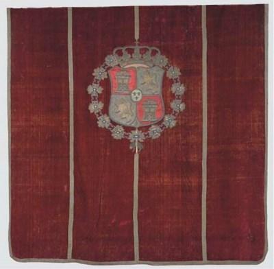A Spanish red velvet, silk and