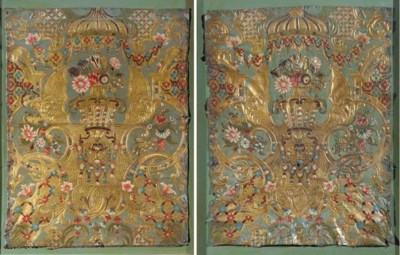 A PAIR OF DUTCH GILT EMBOSSED