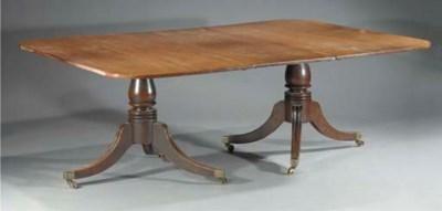 An English mahogany twin pedes