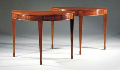 A PAIR OF DEMI LUNE MAHOGANY S