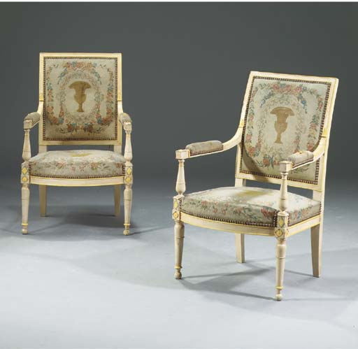 A pair of Directoire cream and