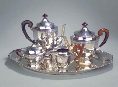 A German silver five-piece cof
