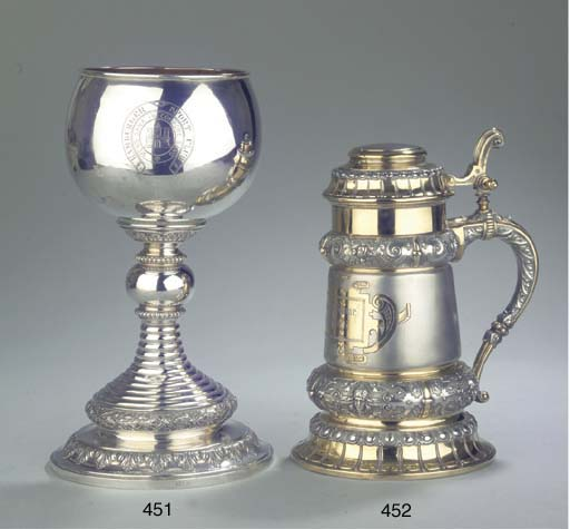 A large German silver goblet