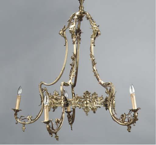 A German gilt-brass five-light