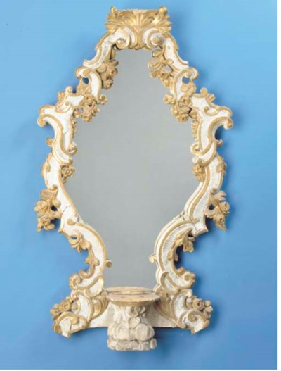 AN ITALIAN PARCEL-GILT AND WHI