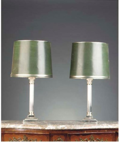 A PAIR OF PLATED TABLE LAMPS