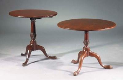 Two George III mahogany tripod