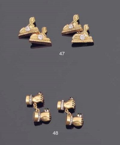 A PAIR OF RUSSIAN GEM SET AND
