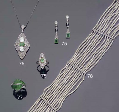 (6)  AN ART DECO EMERALD AND D