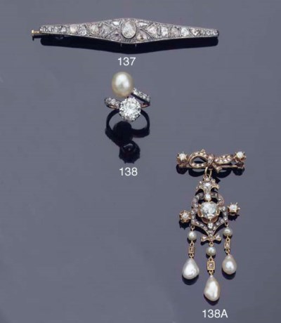 A NATURAL PEARL AND DIAMOND CR