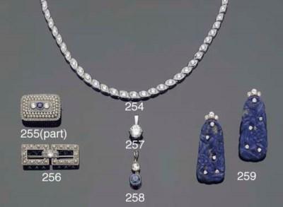 A SAPPHIRE AND DIAMOND PENDANT