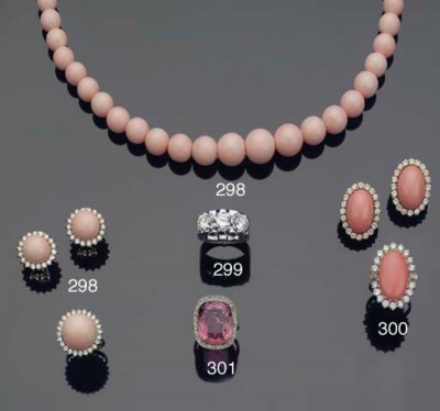 A PINK CORAL AND DIAMOND SUITE