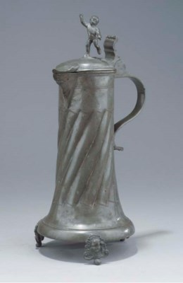 A swiss pewter flagon