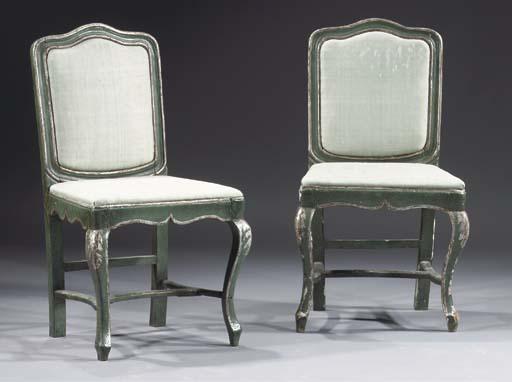 A pair of Italian green painte