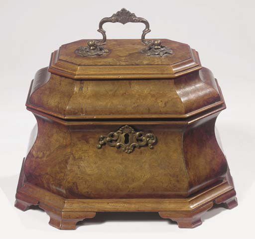A Dutch brass-mounted and burr