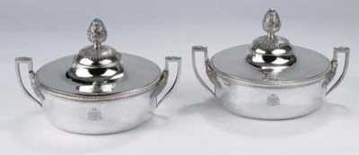 Two French silver entree-dishe