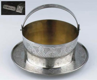 A Russian silver bowl and stan