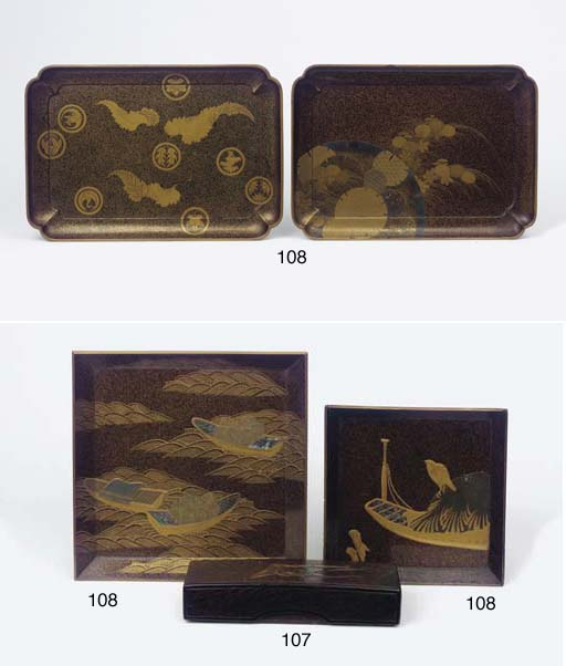 A group of four lacquer trays