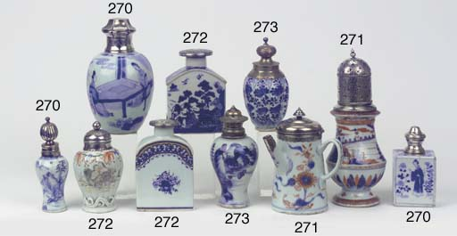 Six various blue and white sil