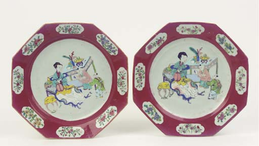 A pair of ruby ground octagona