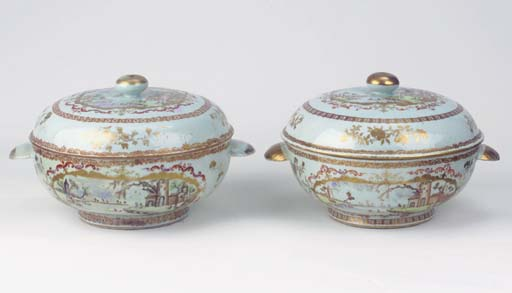 A pair of Export Meissen-style