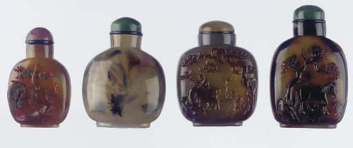 Five various agate snuff bottl