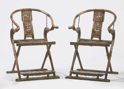 A pair of brass-mounted hardwo