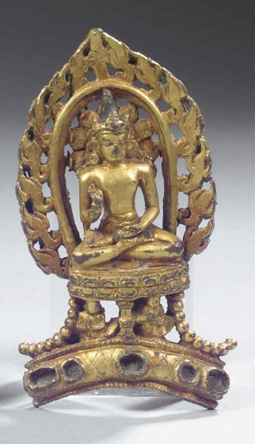 A Tibetan gilt-bronze crown fragment