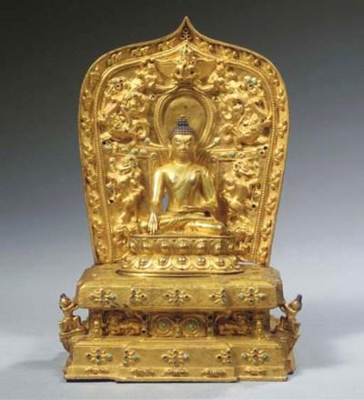 A Tibetan gilt-bronze throne w