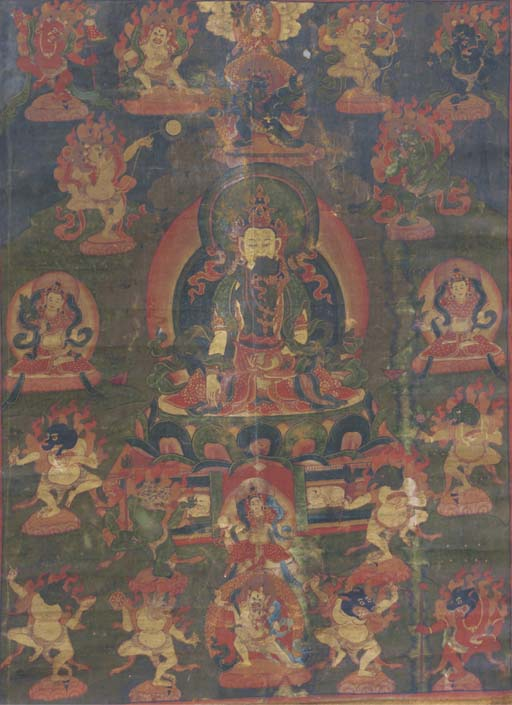 A Tibetan thang.ka depicting Vajradhara and consort