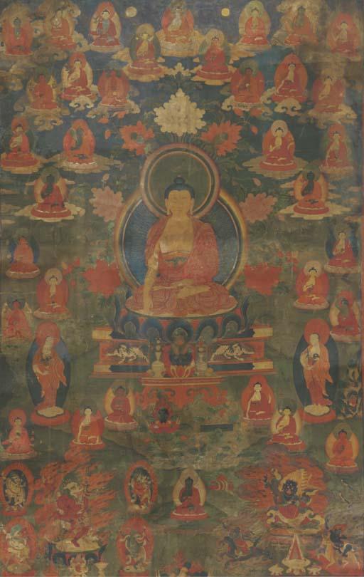 A Tibetan thang.ka depicting Buddha Sakyamuni