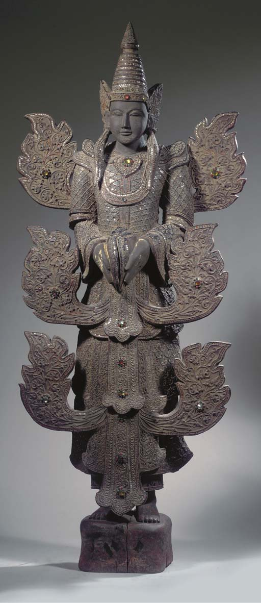 A Burmese lacquered wood figure of king of Nats Thagya min