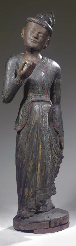 A Burmese lacquered wood male