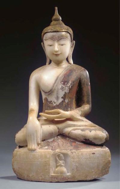 A Burmese, Shan style, marble