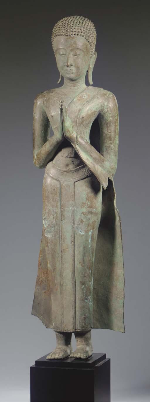 A pair of Thai, Ayutthaya style, bronze monks