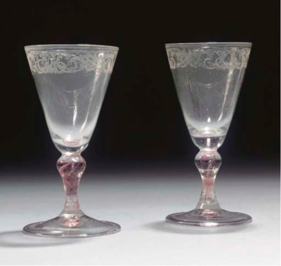 A pair of Bohemian engraved re