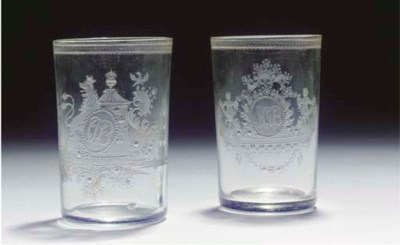 A set of two Bohemian engraved