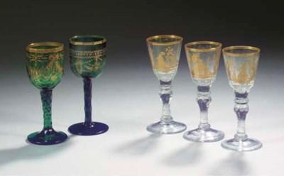 A set of three Bohemian gilt f