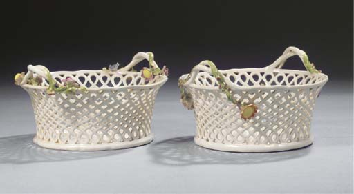 A pair of Loosdrecht two-handled ajour baskets