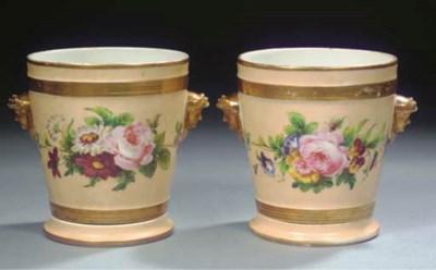 A pair of Paris gilt floral ca