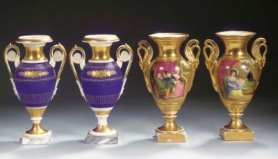 Two pairs of Paris gilt two-ha