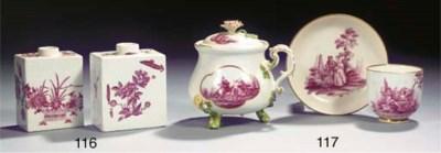 A Meissen flower-encrusted tri