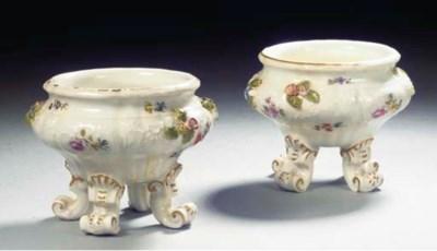 A pair of Meissen floral quadr