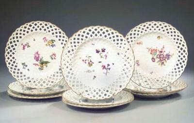 A set of nine Meissen ajour fl