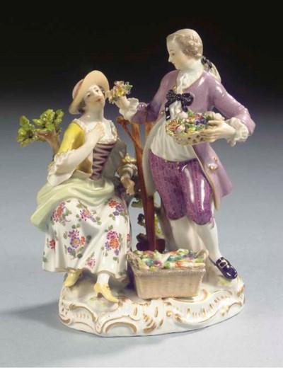 A Meissen porcelain group of g
