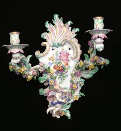 A Meissen flower-encrusted roc