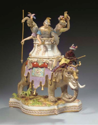 A large Meissen group of three