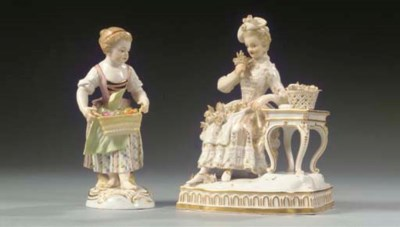 A Meissen lace group and a Mei