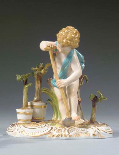 A Meissen figure of a putto ga