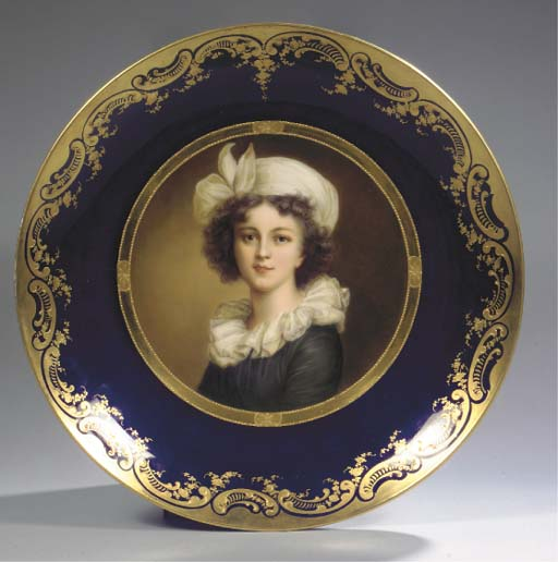 A large Rosenthal Vienna-style blue-ground gilt portrait plate